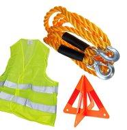 Auto Veiligheidset verkeersvest sleepkabel gevarendriehoek 3 delig set Veiligheidsvest