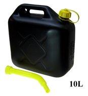 Jerrycan 10 Liter kunststof met flexibele tuit geschikt voor brandstof zwart