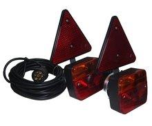 Magneet Verlichting set met reflector driehoek voor aanhanger of fietsdrager met 2,5 m x 7,5 M  kabel