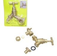 "Buitenkraan + 15mm knel muurplaat waterkraan messing 1/2"" x 3/4"" met slang adapter"
