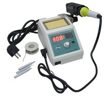 Soldeerstation regelbaar met soldeertin en 3 soldeerstiften 48 Watt soldeerbout digitaal display