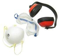 Veiligheid set Gehoor & Oog bril bescherming met vuilmasker stof masker