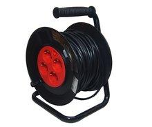 Kabelbox 25 meter verlengsnoer kabelhaspel kabel verleng haspel met 4 geaarde stopcontacten