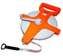 Meetlint 100 meter meet haspel landmeter cm lint materiaal viberglass Oranje
