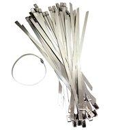 RVS metalen Trekbandjes, Tie ribs, bundelbandjes, slangenklem set 50 delig 300 x 7.85 x 0.25mm Bal vergrendelmechanisme