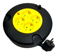 5 Meter kabelbox verlengsnoer kabelhaspel kabel verleng haspel met 4 geaarde stopcontacten geel/zwart
