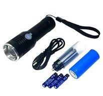 Led zaklamp hoge kwaliteit lamp oplaadbaar met zware xxl li-ion 26650 accu XML-T6 LED shock en waterproof