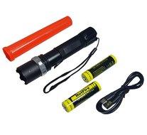 3W Led zaklamp oplaadbaar + 2x li-ion 18650 accu, opzetkegel en Usb kabel verkeersregelaars lamp