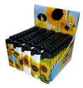 50-X-Aansteker-Zonnebloem-bloemen-geel-print-klik-navulbaar-afbeeldingen